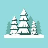 Julgran med snow Snöig skoglandskap - vektorillustration Lyckligt nytt år xmas Arkivfoton