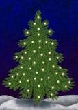 Julgran med stearinljus Arkivfoto