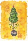 Julgran med stjärnorna Royaltyfri Fotografi