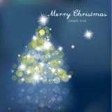 Julgran med suddigheta lampor på blå bakgrund stock illustrationer
