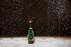 Julgran med tomteblosset på en bakgrund av snö royaltyfria foton