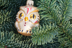 Julgran med ugglan Royaltyfri Bild