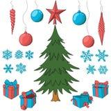 Julgran med uppsättningen av dekorativa beståndsdelar vektor illustrationer