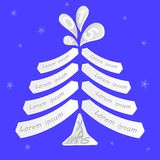 Julgran med utrymme för att skriva önska Arkivfoto