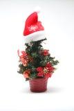 Julgran med xmas-hatten - serie 2 Fotografering för Bildbyråer