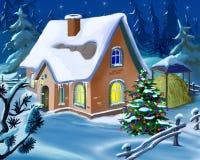 Julgran nära en liten stuga på helgdagsaftonen för nytt år Arkivfoto