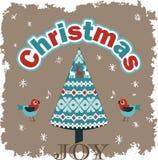 Julgran och fåglar royaltyfri illustrationer