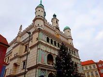 Julgran och fasad av renässansstadshusbyggnaden Arkivfoto