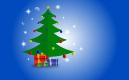 Julgran och gåvor med blå skinande bakgrund för önska royaltyfria foton