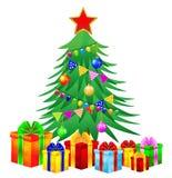 Julgran och gåvor på en vit bakgrund Fotografering för Bildbyråer