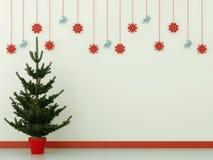 Julgran och garneringar Arkivbild