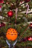 Julgran och julapelsin royaltyfria foton