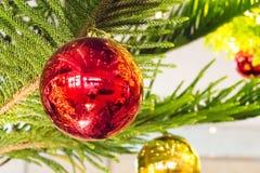 Julgran och julbollar Arkivfoto