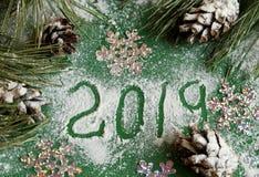 Julgran och kottar i snön på en grön bakgrund och snö för nytt års hälsa kort med nummer 2019 royaltyfria foton