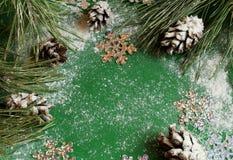 Julgran och kottar i snön på en grön bakgrund och snö för nytt års hälsa kort med snöflingan arkivfoton