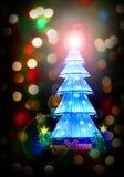 Julgran och lampor Arkivfoton