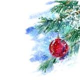 Julgran och leksak Arkivfoto
