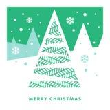 Julgran och natthimmel med fallande snöflingor stock illustrationer