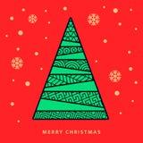 Julgran och natthimmel med fallande snöflingor royaltyfri illustrationer