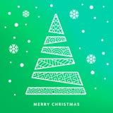 Julgran och natthimmel med fallande snöflingor vektor illustrationer