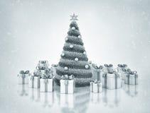 Julgran och presents Fotografering för Bildbyråer