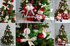 Julgran och prydnader i rött Royaltyfria Bilder