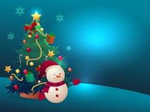 Julgran och snöman stock illustrationer