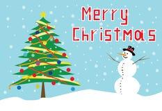 Julgran och snowman Royaltyfria Foton