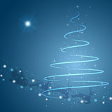 Julgran och stjärna med den Santa sleighen Arkivbild