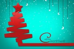 Julgran på blå bakgrund med stjärnor och månen glad jul Royaltyfria Bilder