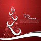 Julgran på dekorativ röd bakgrund Arkivfoto