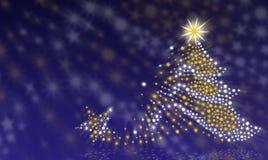Julgran på en blå bakgrund Fotografering för Bildbyråer