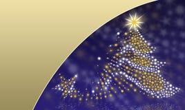 Julgran på en blue-/guldbakgrund Arkivbilder