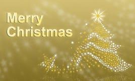 Julgran på en guldbakgrund Arkivfoto