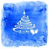 Julgran på en vattenfärgbakgrund Royaltyfri Bild