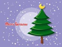 Julgran på färgbakgrund Lycklig nytt år och dekorativt Royaltyfria Bilder