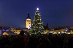 Julgran på gammal stadfyrkant i Ceske Budejovice arkivbild