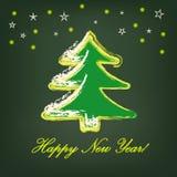 Julgran på mörker - grön bakgrund. vektor illustrationer