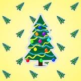 Julgran på modellbakgrunden royaltyfri illustrationer