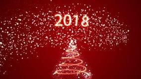Julgran på röd bakgrund med för din text 2018 royaltyfri illustrationer