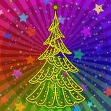 Julgran på regnbågebakgrund royaltyfri illustrationer