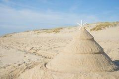 Julgran på stranden fotografering för bildbyråer