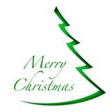 Julgran på vit bakgrund Arkivfoto