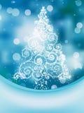 Julgran på bokeh, hälsningkort. EPS 10 Arkivfoton