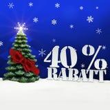 Julgran 40 procent Rabatt rabatt Fotografering för Bildbyråer