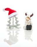 Julgran-, Santa Claus hatt och älg Royaltyfri Fotografi
