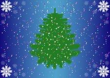 Julgran, snöflingor och konfettier Royaltyfria Foton
