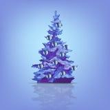 Julgran som dekoreras med kulöra bollar som isoleras royaltyfri illustrationer
