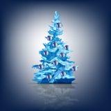 Julgran som dekoreras med kulöra bollar som isoleras vektor illustrationer