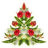 Julgran som göras av exotiska vändkretsblommor och palmblad royaltyfri illustrationer
